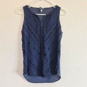 Knox Rose Navy Blue Embroidered Sleeveless Blouse